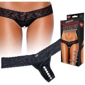 Hustler Stimulating Panties w/Pearl Pleasure Beads Black S/M